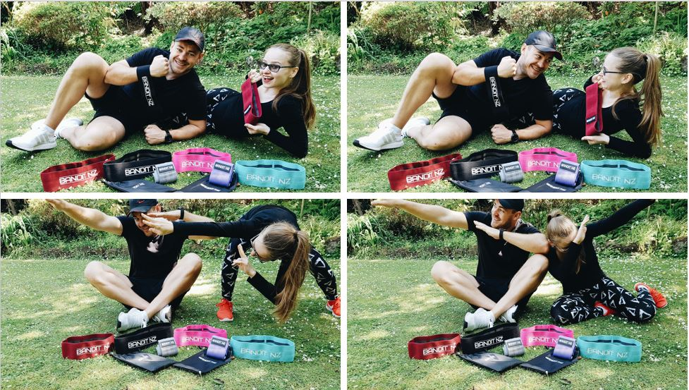 Faces behind BANDIT NZ fitness resistance bands - Igor and Maria, photos of us in the park in the grass with bands