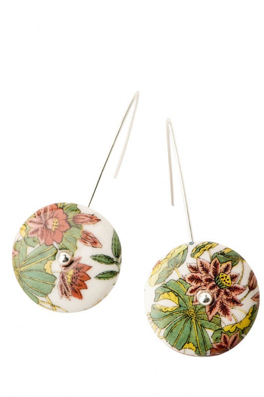 Arched Disc Porcelain Earrings Lotus