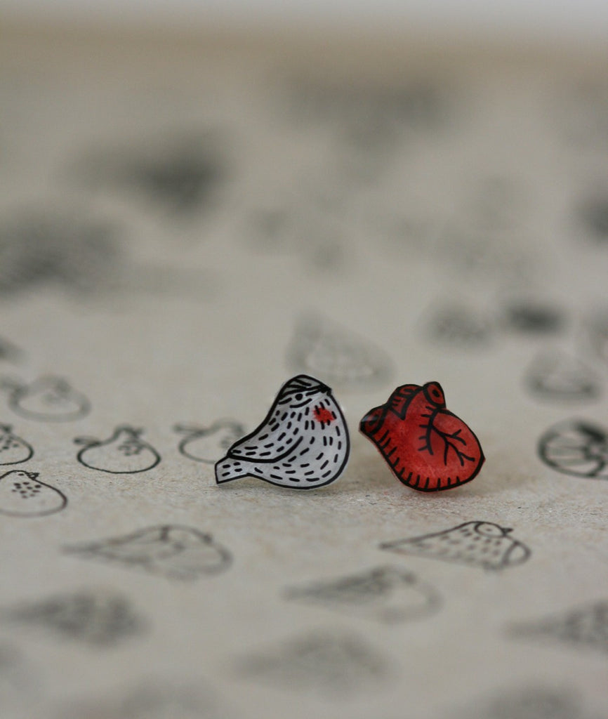 Heart and Sparrow Earrings