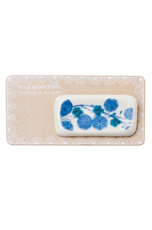 Rectangle Porcelain Brooch Blue Nasturtium