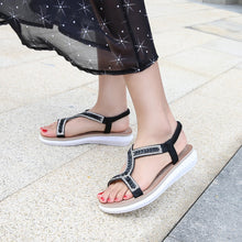 Load image into Gallery viewer, Meeshine Women's Summer Beach Flat Sandals Bohemia Casual Rhinestone Flip-Flop T-Strap Thong Shoes
