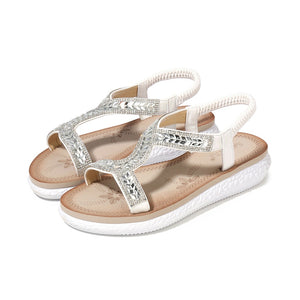 Meeshine Women's Summer Beach Flat Sandals Bohemia Casual Rhinestone Flip-Flop T-Strap Thong Shoes