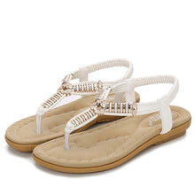 Load image into Gallery viewer, Meeshine Women Bohemian Thong Sandal T-Strap Elastic Back Beach Flip Flops Slip on Sandals