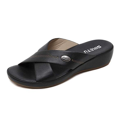 Meeshine Women's Slide Sandals Slip On Open Toe Cushioned Wedge Sandals Shoes