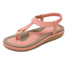 Load image into Gallery viewer, Meeshine Women Summer Beach Flat Sandals T-Strap Elastic Ankle Strap Flip-Flop Thong Shoes