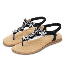 Load image into Gallery viewer, Meeshine Women's T-Strap Flat Sandals Shoes Summer Bohemian Ankle Thong Shoes Ladies Strappy Flip Flops Sandals Rhinestone Decoration