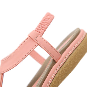 Meeshine Women Summer Beach Flat Sandals T-Strap Elastic Ankle Strap Flip-Flop Thong Shoes