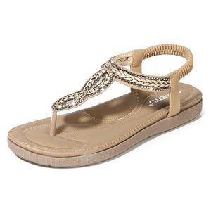 Meeshine Women's T-Strap Flat Sandals Shoes Summer Bohemian Ankle Thong Shoes Ladies Strappy Flip Flops Sandals Rhinestone Decoration