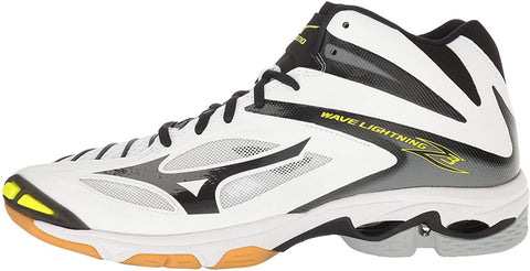 Mizuno Men's Wave Lightning Z3 Mid - White/Black/Yellow