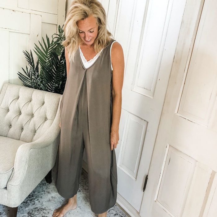 woman in gray jumpsuit
