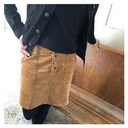 Corduroy Button Skirt Tan