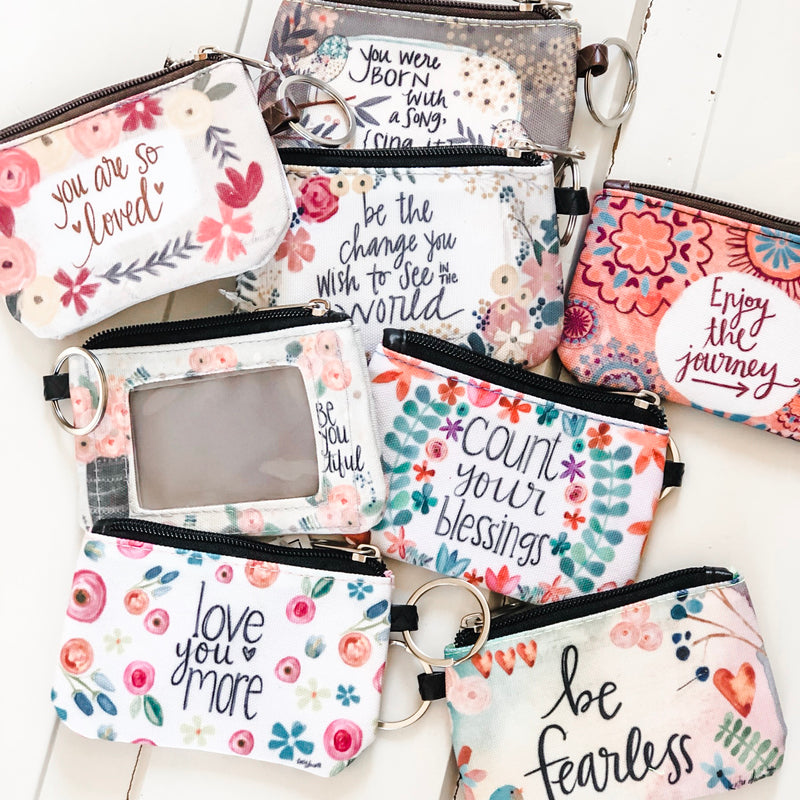 flowered zippered coin purses with inspirational sayings