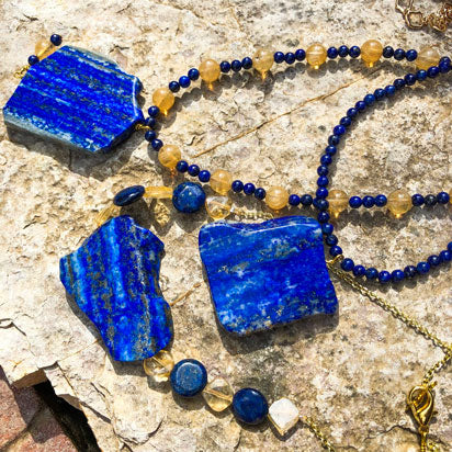 Lapis lazuli gemstone jewelry in natural shapes