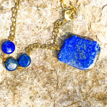 Lapis lazuli gemstone jewelry in natural and circular shapes