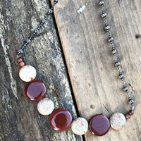 red and white stone necklace