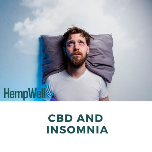 Image of a man laying on a pillow with eyes wide open and text that says 'CBD and Insomnia'