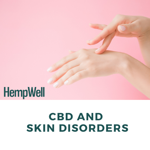 Image of hand applying hand cream with text 'CBD and Skin Disorders'