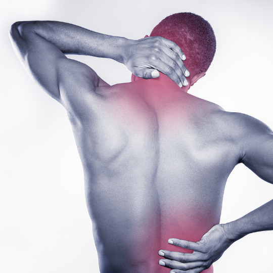 Man with neck and lower back pain
