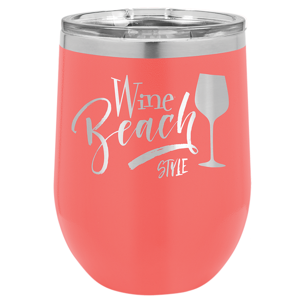 12 oz. Custom Engraved Coated Stainless Steel Stemless Wine Glass