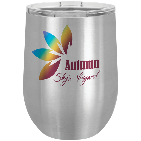 12 oz. Custom Color Design Stainless Steel Stemless Wine Glass