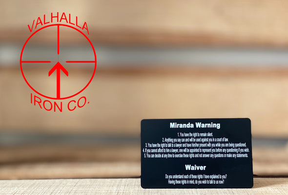 Bullet Flag Miranda Warning Card