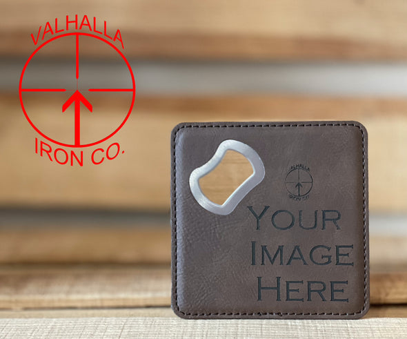 "Single 4"" x 4"" Custom Engraved Square Leatherette Bottle Opener Coaster"