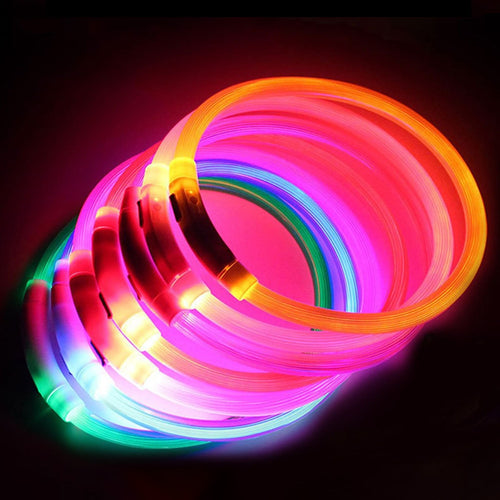 USB Rechargeable LED Pet Dog Collar Flashing Glow Glowing Luminous Night Dog Collars - Retfull