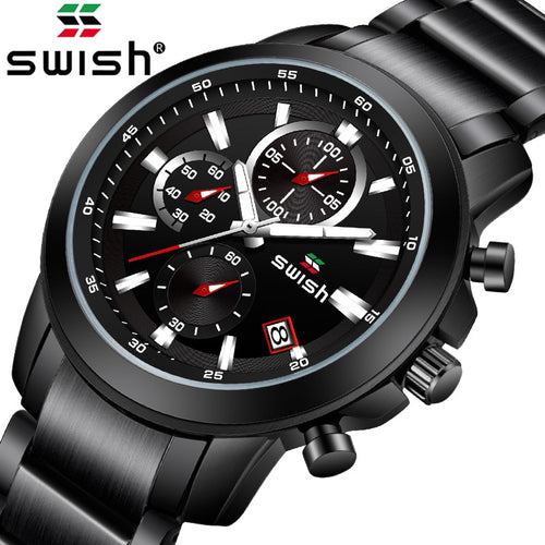 SWISH New Product Men's Fashion Watch Men's Sports Waterproof Black All Steel Quartz Watch Men's Clock Watch Relogio Masculino - Retfull