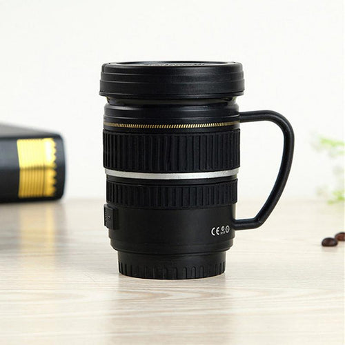 Creative Drinkware Cute Cup Stainless Steel Camera Lens Shaped Mugs Coffee Mugs Tea Cup Travel Vacuum Flasks With Lid Gift - Retfull