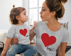 Family Mother And Daughter Matching Clothes Heart Printed T-Shirt Tops Cute Short Sleeve O Neck Soft Comfortable Fashion Tops - Retfull