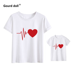 Cute Family Look Matching Clothes Mommy And Me Tshirt Mother Daughter Son Outfits Women Mom T-shirt Baby Girl Boys T Shirt - Retfull