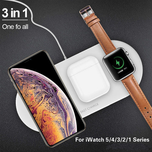 3 In 1 Airpower Qi Fast Wireless Charger Pad Qi Wireless Charger Holder For Apple Watch 5 4 3 2 1 For Mobile Phones Fast Charger - Retfull