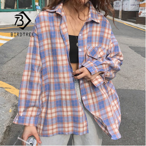 New Arrival Women Vintage Plaid Oversized Blouse Batwing Sleeve Turn Down Collar Purple Shirt Button Up Casual Tops T04001F - Retfull