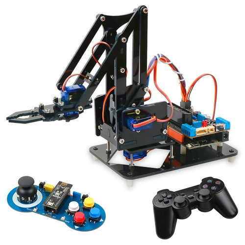 4DOF DIY Robot Arm Kit Educational Robotics Claw Set Mechanical Arm for Arduino R3,PS2/2.4G Wireless Control,Scracth Programming - Retfull
