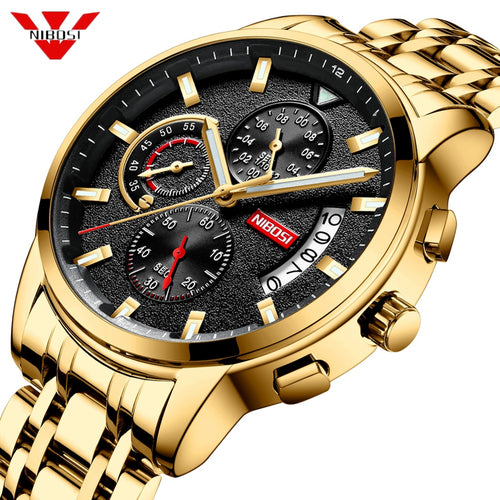 NIBOSI New Brand Quartz Watch Men Sport Watches Men Steel Band Military Clock Waterproof Gold Wrist Mens Watch Relogio Masculino - Retfull