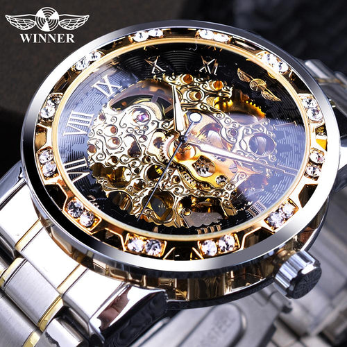 Winner Transparent Fashion Diamond Luminous Gear Movement Royal Design Men Top Brand Luxury Male Mechanical Skeleton Wrist Watch - Retfull