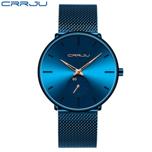 CRRJU Fashion Mens Watches Top Brand Luxury Quartz Watch Men Casual Slim Mesh Steel Waterproof Sport Watch Relogio Masculino - Retfull