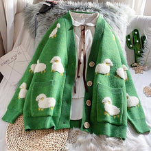 Load image into Gallery viewer, 2020 Autumn New Knit Female Cardigan Loose Streetwear Knit Sweater Coat Cute Cartoon Print V Neck knitted cardigan Women Jacket - Retfull