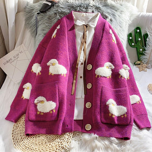 2020 Autumn New Knit Female Cardigan Loose Streetwear Knit Sweater Coat Cute Cartoon Print V Neck knitted cardigan Women Jacket - Retfull