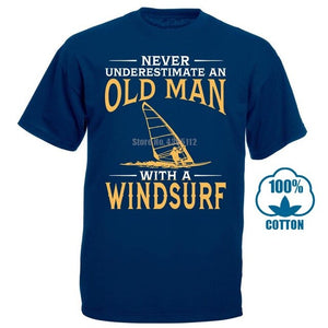 Never Underestimate An Old Man With A Windsurf T-Shirt Short Sleeved Custom Design Tees Shirt Cotton O-Neck - Retfull