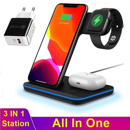 Universal 15W Qi Wireless Charger For Iphone XS 8 11 Pro Max Huawei Freebuds Samsung Buds Bud+ Station For Apple Watch 5 4 3 2 1 - Retfull