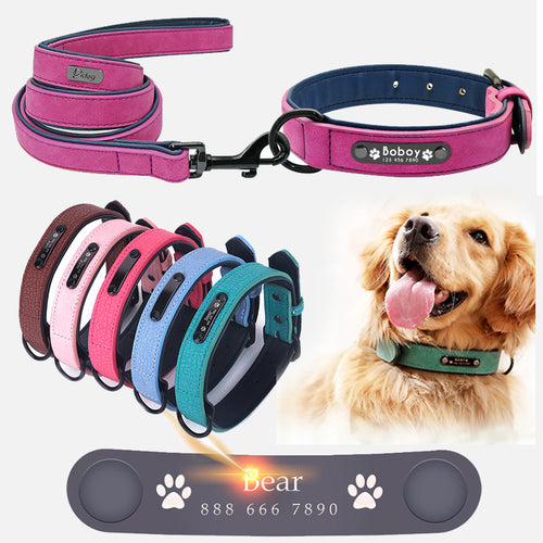 Dog Collars Personalized Custom Leather Dog Collar Name ID Tags For Small Medium Large Dogs collars Pink black green rose blue - Retfull