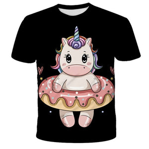 Pink Unicorn T-shirt 3D Baby Kids Little girl Summer Children Boys teenager White Tees Cartoon anime Tops For Girls Clothes - Retfull
