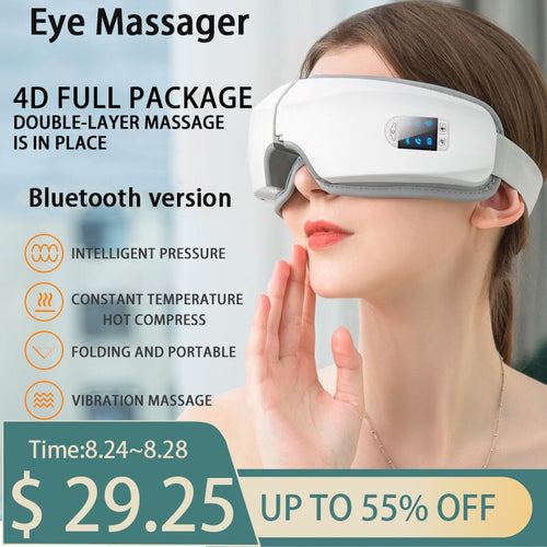 4D Smart Airbag Vibration Eye Massager Eye Care Instrument Hot Compress Bluetooth Eye Fatigue Massage Glasses - Retfull