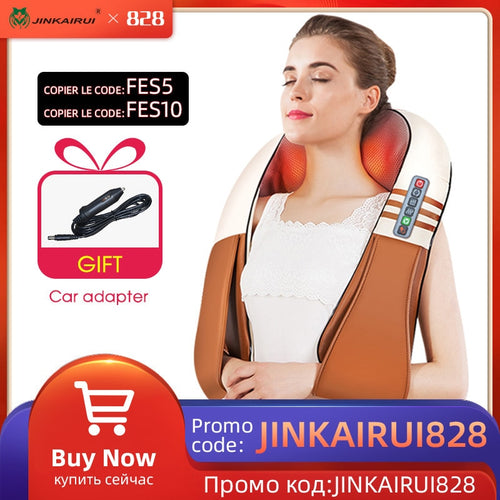 (with Gift Box)JinKaiRui U Shape Electrical Shiatsu Back Neck Shoulder Body Massager Infrared Heated Kneading Car/Home Massagem - Retfull