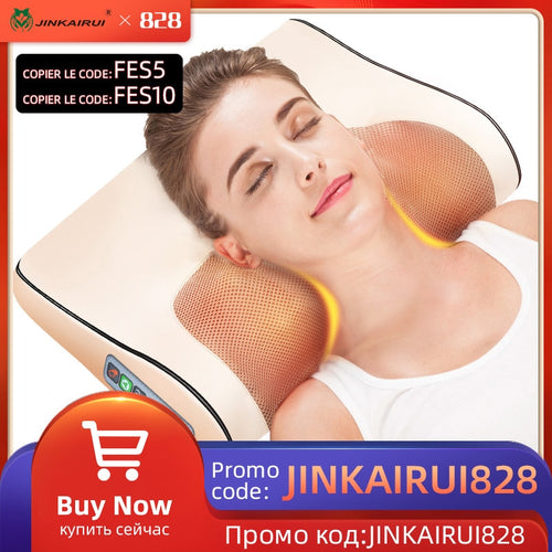 Infrared Heating Neck Shoulder Back Body Electric Massage Pillow Shiatsu Massager Device Cervical Healthy Massageador Relaxation - Retfull
