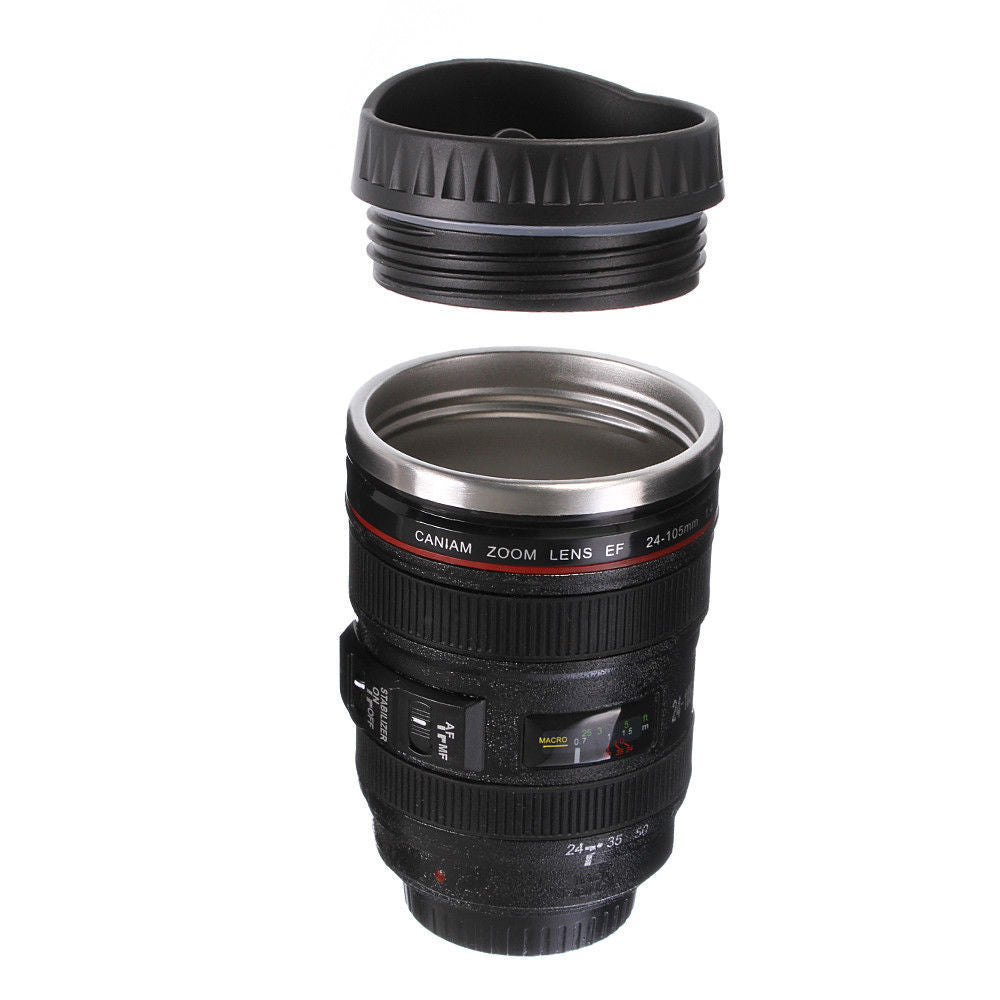 Lemonbest 1pc Camera Lens Thermos for Canon EF 24-105mm Coffee Mug Cup Stainless w Drinking Lid - Retfull