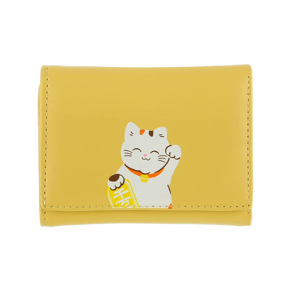 Lucky Cat Tri-Fold Wallet Yellow