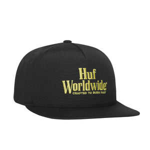 HUF Burn Fast Snapback Hat Mens Cap Black