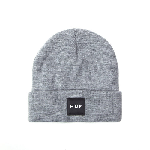 HUF Box Logo Beanie Mens Beanie Grey Heather